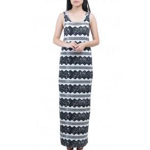 Black White Printed Sleveless Dress
