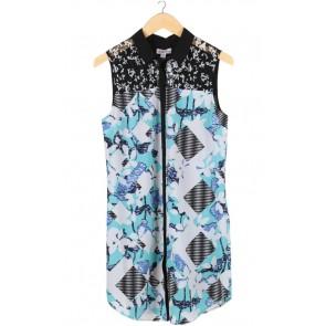 Blue Floral Sleeveless Mini Dress