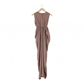 Treimee Brown Sleeveless Long Dress