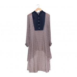 Denny Wirawan Dark Blue And Cream Silk Shirt Square Pattern Midi Dress