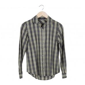 Rani Hatta Dark Grey And Yellow Square Pattern Shirt