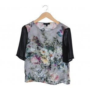 Karen Walker Grey And Black Floral Combi Blouse