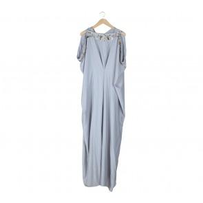 Reshnareshna Grey Beaded Caftan Long Dress