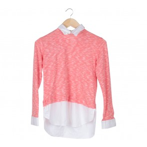 Cotton Ink Peach And White Knit Combi Shirt