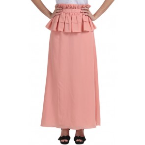 Peach Ruffle long skirt