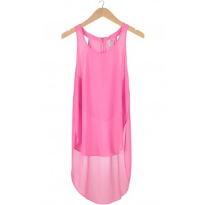 Pink Sleeveless Long Tail Top