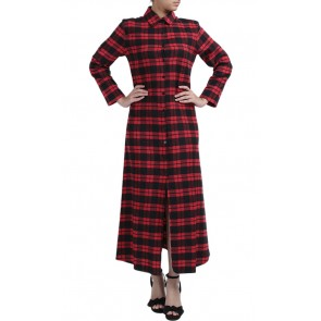 Red and Black Plaid Long Dress