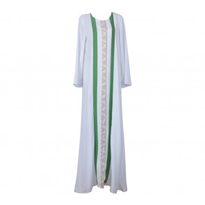 Novierock White And Green Patterned Long Dress