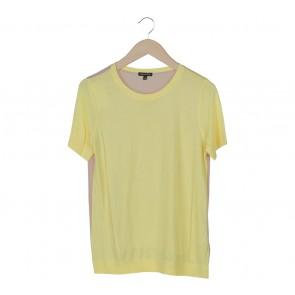 Massimo Dutti Yellow And Cream Knit Combi Blouse