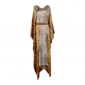 Savanna Yellow Leopard Tied Caftan Long Dress