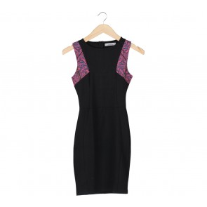 Pull & Bear Black With Tribal Accent Mini Dress