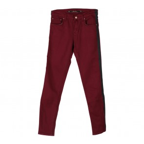 Zara Maroon With Black Trim Jeans Pants