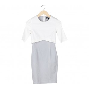 Zalora White And Grey Layer Mini Dress