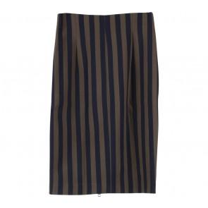 Zara Dark Blue And Green Striped Midi Skirt