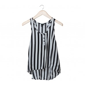 Divided Black And White Striped Asymmetric Sleeveless