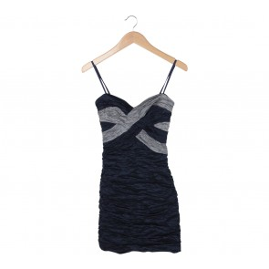 BCBG Maxazria Dark Blue And Grey Tube Mini Dress