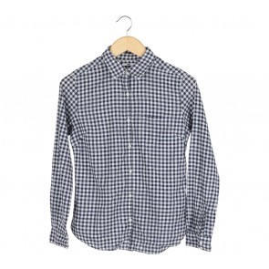 UNIQLO Dark Blue And White Plaid Shirt