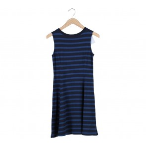 UNIQLO Black And Blue Striped Sleeveless Mini Dress