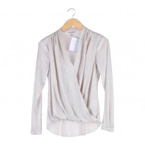 H&M Silver Wrap Blouse
