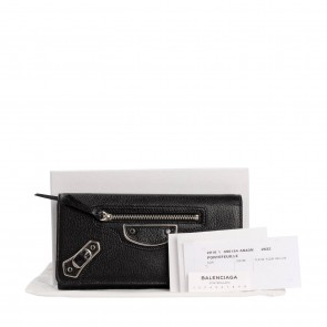 Balenciaga Black Edge Money Flap Leather Wallet