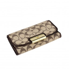 Coach Brown Checkbook Wallet