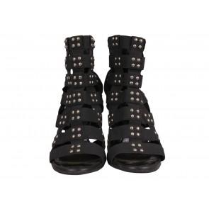 Balmain x Giuseppe Zanotti Black Studded Elastic Caged Heels