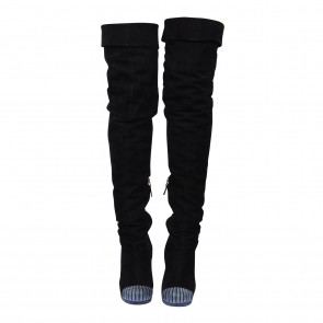 Fendi Black Suede Studded Knee High Boots