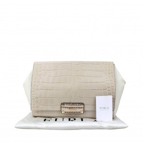 Furla White Snake Leather Clutch