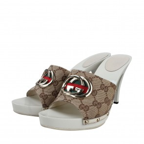 Gucci White Patent Leather High Heel 105mm Sandals