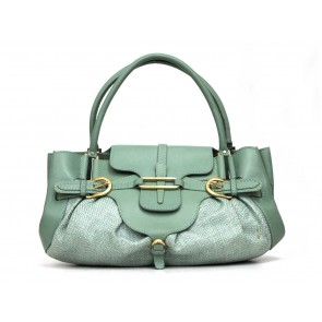 Jimmy Choo Green Rattan Top Handle Shoulder Bag