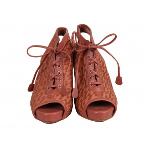 Hermes Pink H Print Lace Up Booties