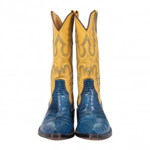 Billy Martin´s Yellow And Blue Leather and Crocodile Cowboy Boots