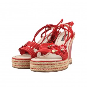 Louis Vuitton Red Embossed Wedges