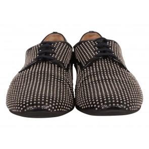 Miu Miu Black Patent Studded Lace Up Shoes