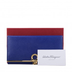 Salvatore Ferragamo Blue Gancio Continental Wallet