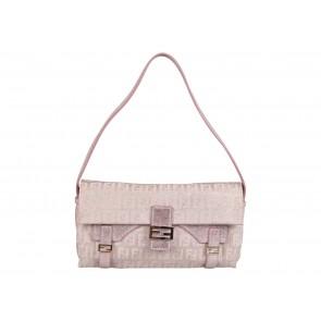 Fendi Pink And Silver Small Monogram Glitter Sling Bag