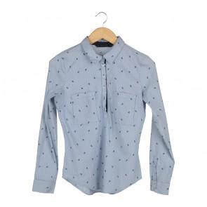 Zara Blue And White Striped Shirt
