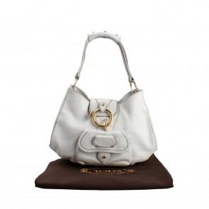 Tod´s White Leather Shoulder Bag with Front Pocket