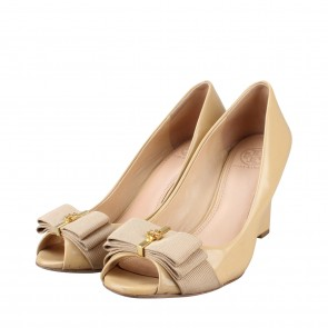 Tory Burch Nude Patent Leather Wedges