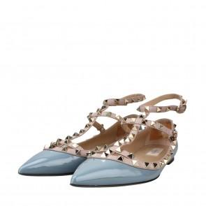 Valentino Blue and Grey Rockstud Ballerina Flats