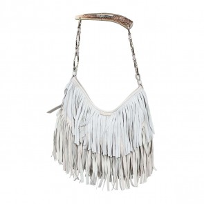 Yves Saint Laurent Off White Fringe Suede Mombasa Tote Bag