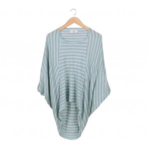 (X)SML Green And Grey Striped T-Shirt