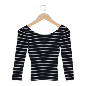 Divided Black And White Striped T-Shirt