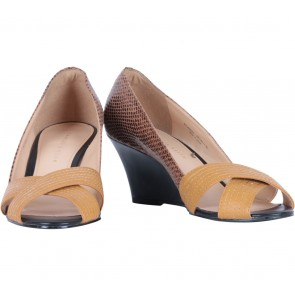 Charles and Keith Brown Cross Snake Skin Wedges