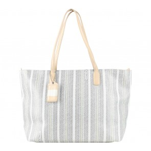 Coach Grey Ticking Striped Coated Canvas Legacy Tote Bag