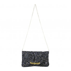 Miss Selfridge Dark Blue And Gold Clutch