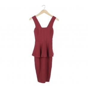 Ciel Maroon Peplum Midi Dress