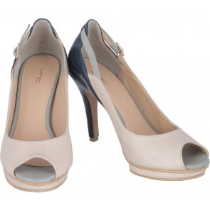 VNC Dark Blue And Cream Platform Heels
