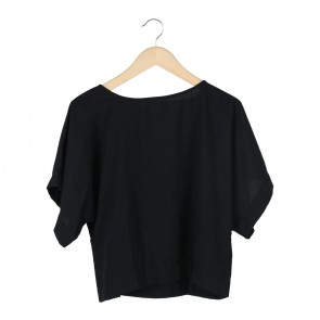 Tinkerlust Black Boxy Crew Neck Blouse