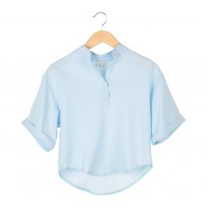 Tinkerlust Blue Mandarin Collar Blouse